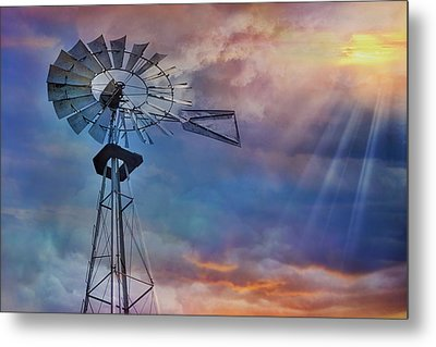 Metal Print featuring the photograph Windmill At Sunset by Susan Candelario