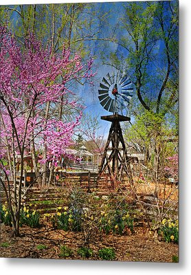 Windmill At The Garden Metal Print by Marty Koch