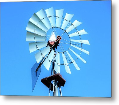 Metal Print featuring the photograph Windmill - Bright Sunny Day by Ray Shrewsberry