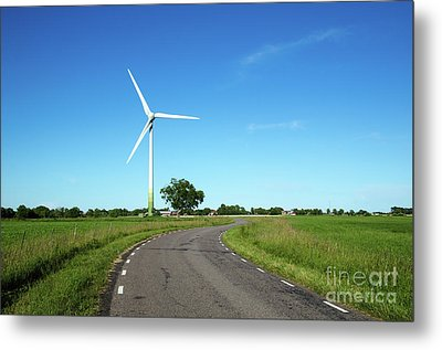Metal Print featuring the photograph Windmill By A Country Road Side by Kennerth and Birgitta Kullman