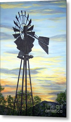 Windmill Capture The Wind Metal Print by Judy Filarecki