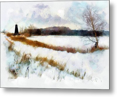 Windmill In The Snow Metal Print