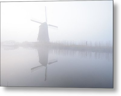 Metal Print featuring the photograph Windmill Reflection by Phyllis Peterson