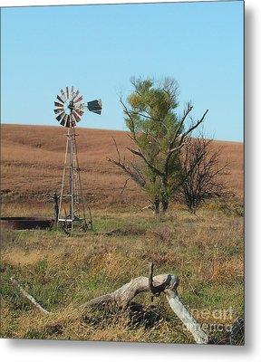 Windmill With Log Metal Print