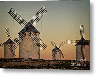 Windmills In Golden Light Metal Print by Heiko Koehrer-Wagner