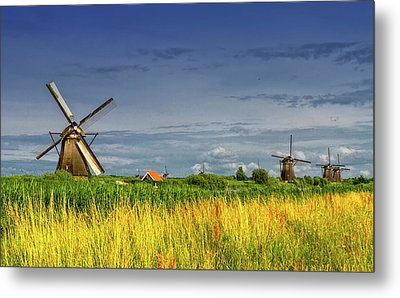 Windmills In Kinderdijk, Holland, Netherlands Metal Print