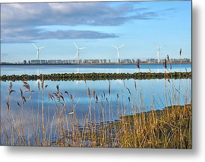 Windmills On A Windless Morning Metal Print by Frans Blok