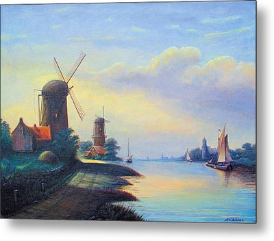 Windmills On The Rhine Metal Print by Nick Diemel