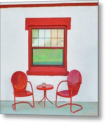 Window - Chairs - Table Metal Print by Nikolyn McDonald