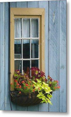 Window Flower Basket Metal Print