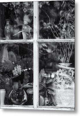 Window In Black And White Metal Print