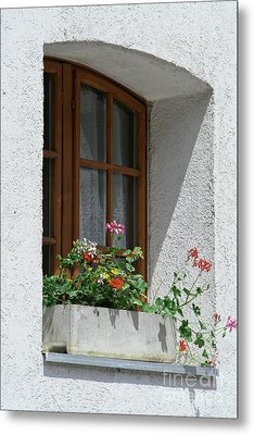 Metal Print featuring the photograph Window In Zermatt by Christine Amstutz