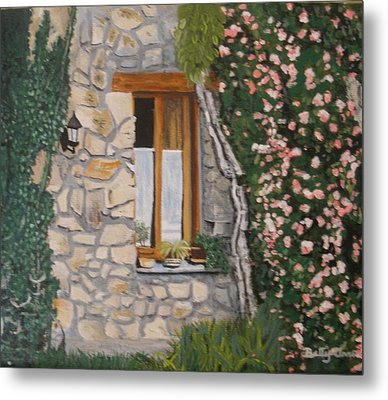 Metal Print featuring the painting Window Ledge  France by Betty-Anne McDonald