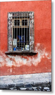 Window On Red Wall San Miguel De Allende, Mexico Metal Print by Carol Leigh