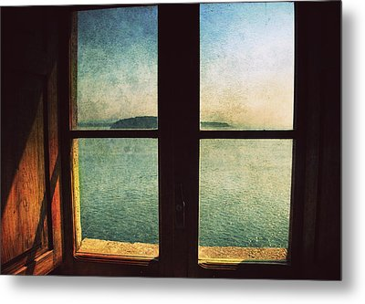 Window Overlooking The Sea Metal Print