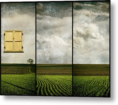 Window To Farmland Triptych Metal Print by Wim Lanclus
