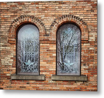 Windows - First Congregational Church - Jackson - Michigan Metal Print by Nikolyn McDonald