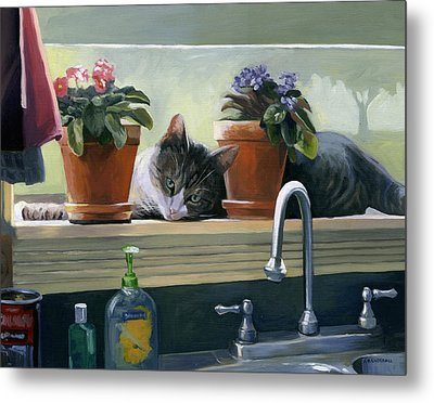 Metal Print featuring the painting Windowsill Cat by Alecia Underhill