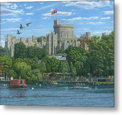 Windsor Castle From The River Thames Metal Print by Richard Harpum