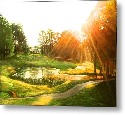 Windstone 13th Green Metal Print by Janet McGrath