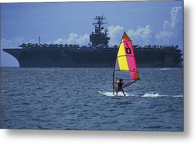 Windsurfer And Aircraft Carrier Metal Print by Carl Purcell