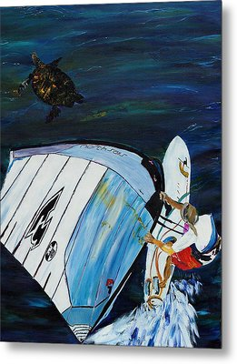 Windsurfer And Sea Turtle Metal Print by Impressionism Modern and Contemporary Art  By Gregory A Page