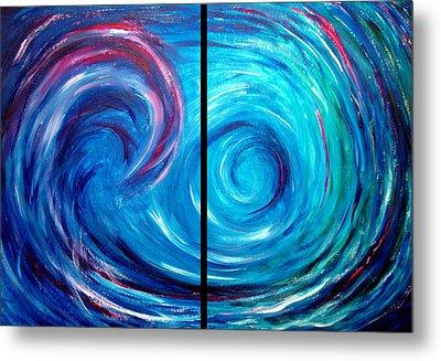 Windswept Blue Wave And Whirlpool 2 Metal Print by Nancy Mueller