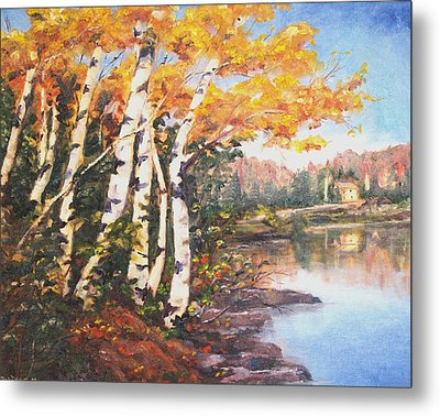 Metal Print featuring the painting Windy Birches by Diane Daigle