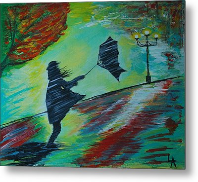 Metal Print featuring the painting Windy Escapade by Leslie Allen