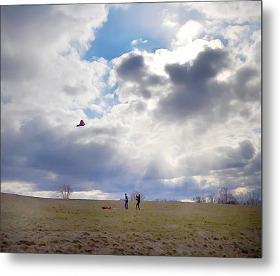 Windy Kite Day Metal Print by Bill Cannon