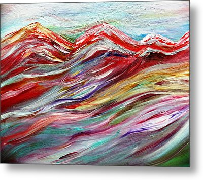 Windy Mountain Day Metal Print by Amy Drago