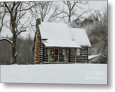 Windy Winter Day At The Cabin Metal Print