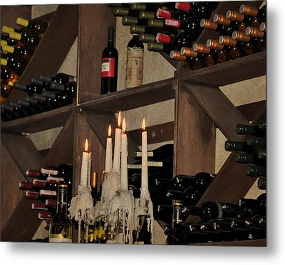 Wine And Candles  Metal Print by Rose  Hill