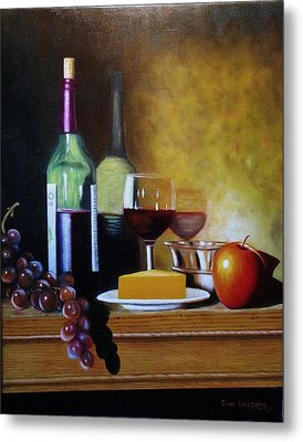 Wine And Cheese Metal Print by Gene Gregory