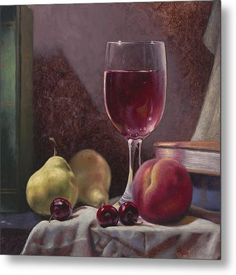 Wine And Fruit Metal Print