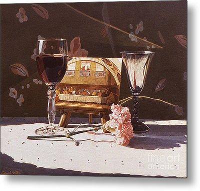 Wine And Last Supper Metal Print by Daniel Montoya