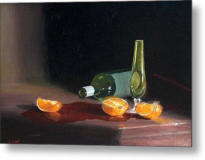 Wine And Oranges Metal Print by Greg Clibon