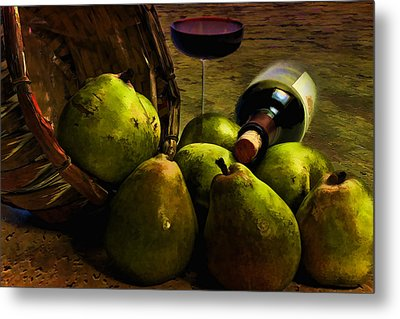 Metal Print featuring the photograph Wine And Pears by Gary Smith