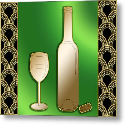 Metal Print featuring the digital art Wine Bottle And Glass - Chuck Staley by Chuck Staley