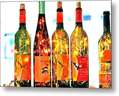 Wine Bottle Lights Metal Print by Margaret Hood