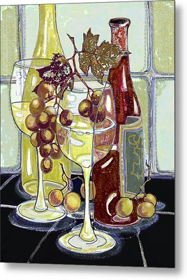 Wine Bottles Grapes And Glasses Metal Print by Peggy Wilson