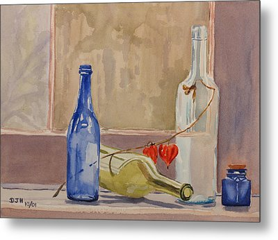 Wine Bottles On Shelf Metal Print by Debbie Homewood