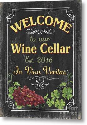 Wine Cellar Sign 1 Metal Print by Debbie DeWitt