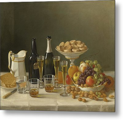 Wine, Cheese, And Fruit Metal Print by John F Francis