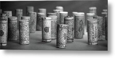 Wine Cork Panorama In Black And White Metal Print by Tom Mc Nemar