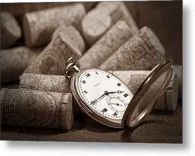 Wine Corks Still Life Vi Aged To Perfection Metal Print by Tom Mc Nemar