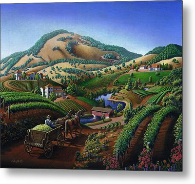 Old Wine Country Landscape - Delivering Grapes To Winery - Vintage Americana Metal Print
