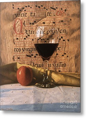 Wine Glass And Manuscript Metal Print by Daniel Montoya