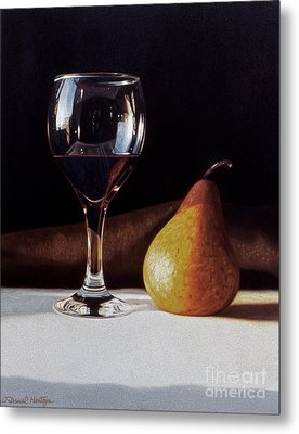 Wine Glass And Pear Metal Print by Daniel Montoya