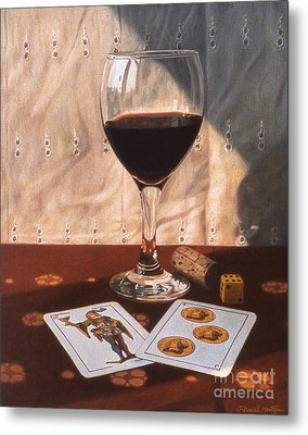 Wine Glass And Playing Cards Metal Print by Daniel Montoya